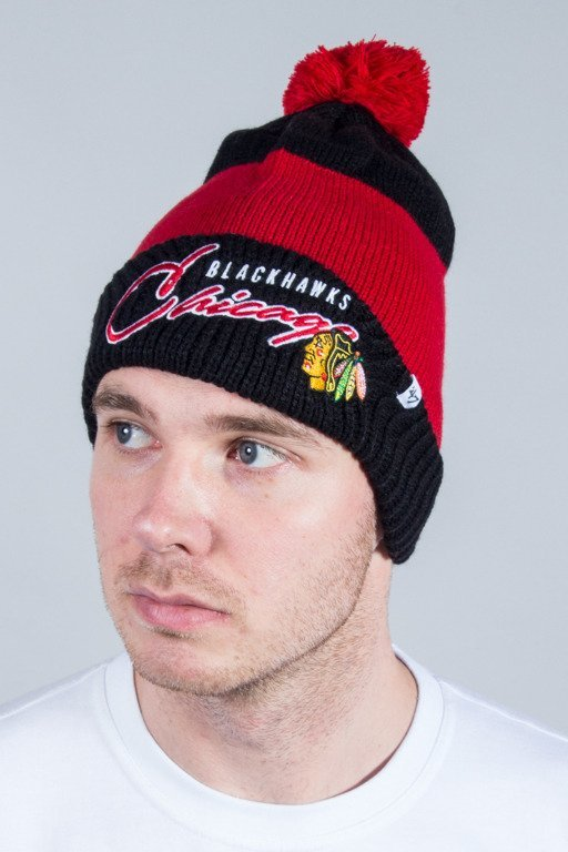 47 BRAND WINTER CAP HUSTLE CUFF KNIT WITH POM POM CHICAGO BLACKHAWKS