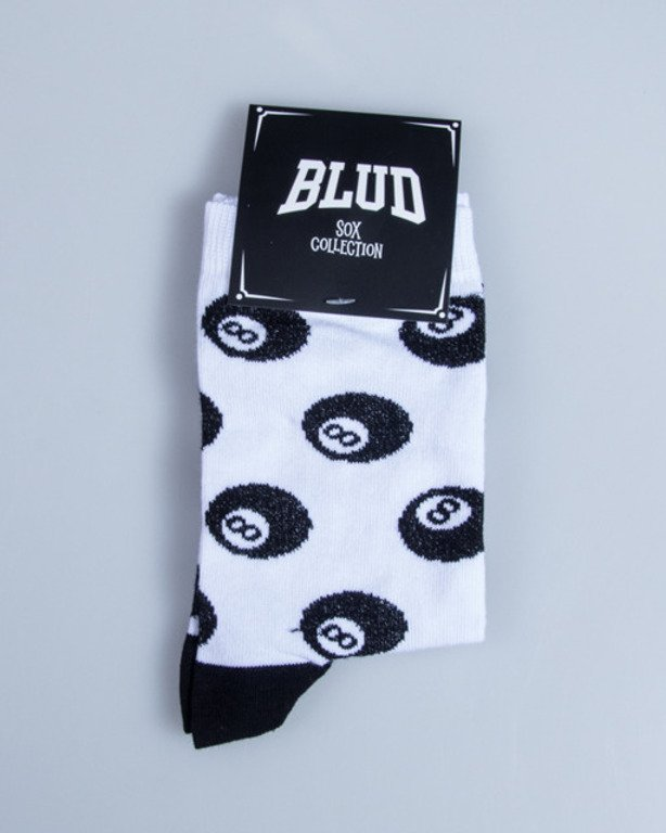 BLUD SOCKS QUARTER 8 BALL WHITE