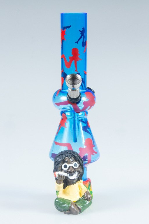 BONGO AKRYLOWE RASTA GLASS LADY BONG BLUE-RED