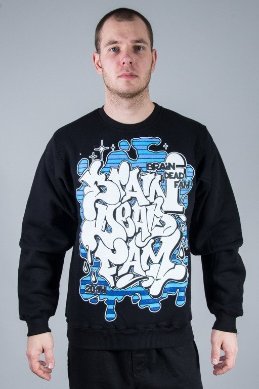 BRAIN DEAD FAMILIA BLUZA BEZ KAPTURA GRAFFITI BLACK-BLUE