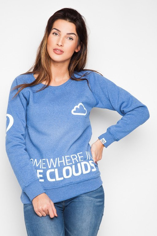 DIAMANTE CHICKS BLUZA BEZ KAPTURA CLOUDS BLUE