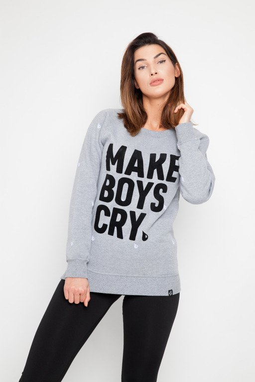 DIAMANTE CHICKS BLUZA MAKE BOYS CRY GREY