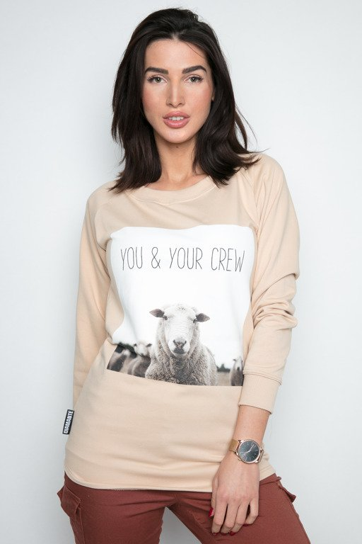 DIAMANTE CHICKS CREWNECK LONG YOU & YOUR CREW BEIGE
