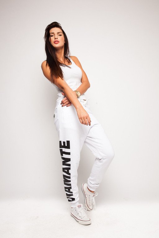 DIAMANTE CHICKS SPODNIE DRESOWE HIPSTER WHITE