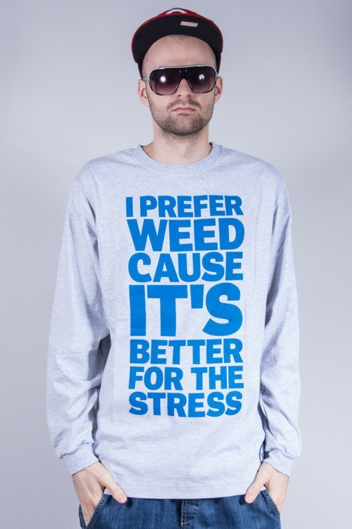 DIAMANTE WEAR LONGSLEEVE  I PREFER WEED MELANGE-BLUE