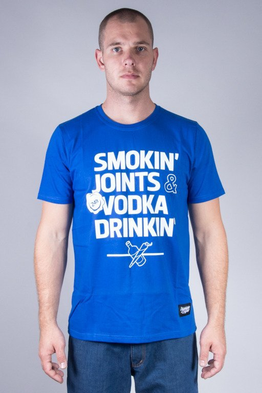 DIAMANTE WEAR T-SHIRT SMOKING JOINTS BLUE