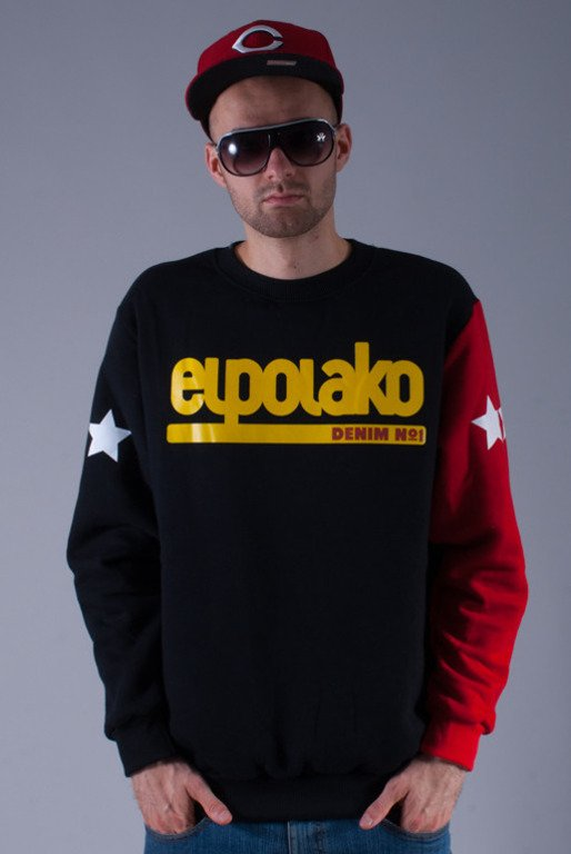 EL POLAKO BLUZA BEZ KAPTURA LTD DENIM BLACK-RED