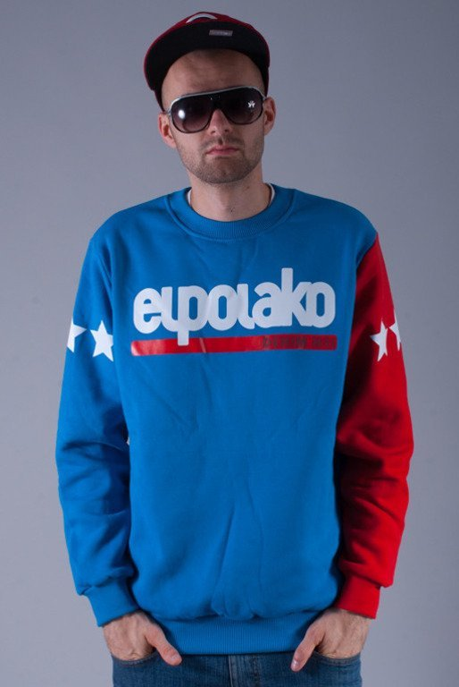 EL POLAKO BLUZA BEZ KAPTURA LTD DENIM BLUE-RED