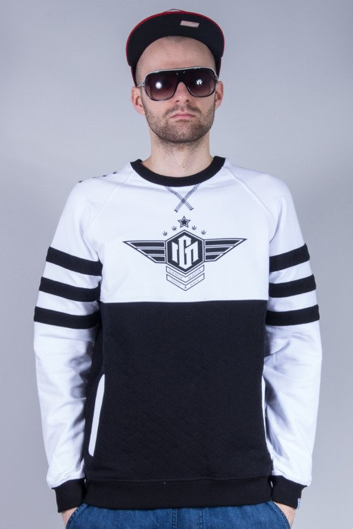 GANJA MAFIA BLUZA BEZ KAPTURA GENERAL WINGS WHITE-BLACK