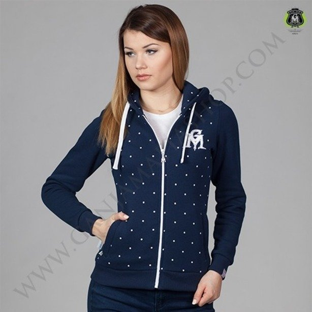 GANJA MAFIA BLUZA DAMSKA ZIP DOTS ROYAL BLUE