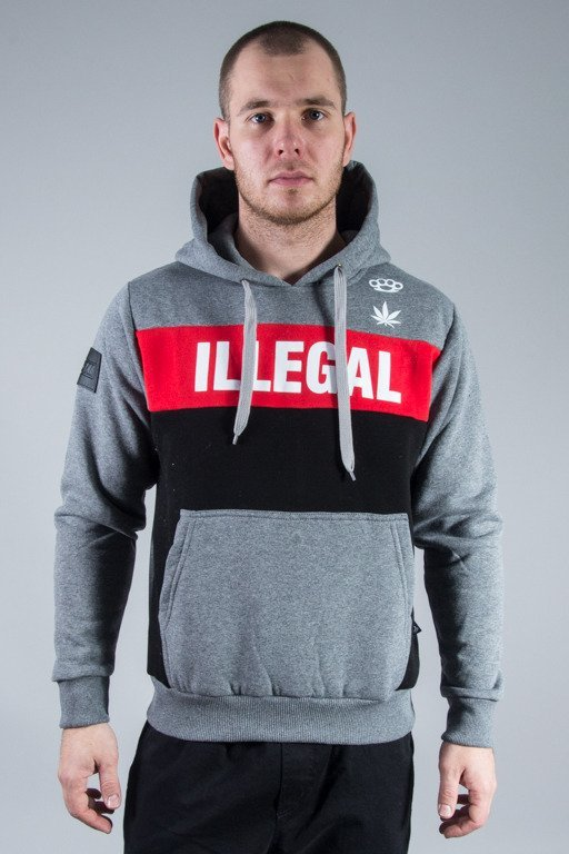 ILLEGAL HOODIE RED BOX GREY