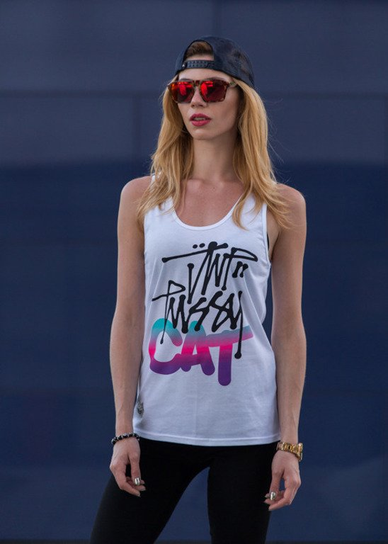 JWP TANK TOP GIRL PUSYY CAT WHITE
