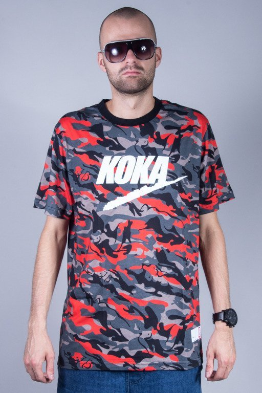 KOKA T-SHIRT FAKE CAMONAKED RED