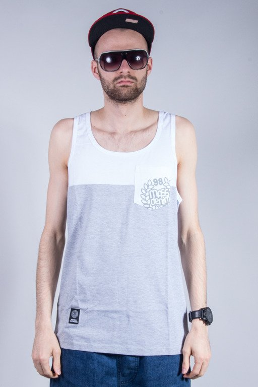 MASS TANK TOP POCKET BASE WHITE-MELANGE