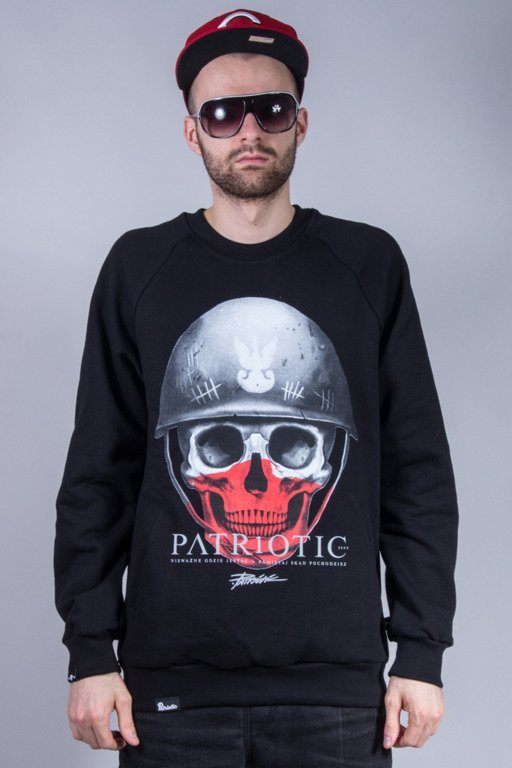 PATRIOTIC BLUZA BEZ KAPTURA SKULL NEW BLACK