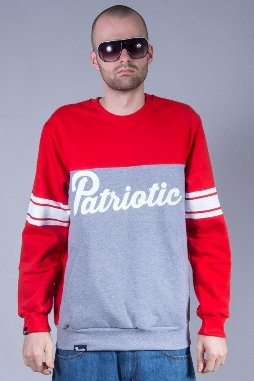 PATRIOTIC CREWNECK SHOULDER RED-MELANGE