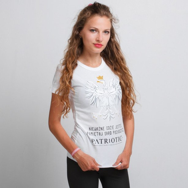 PATRIOTIC GIRL T-SHIRT GODŁO WHITE