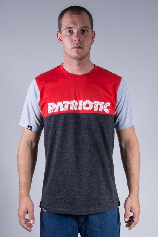 PATRIOTIC T-SHIRT SHOULDER GREY-RED