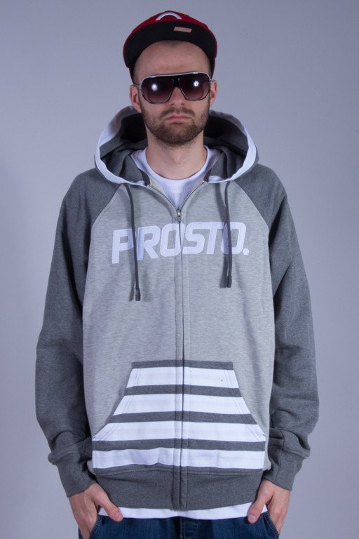 PROSTO BLUZA Z KAPTUREM ZIP COMPILED GREY
