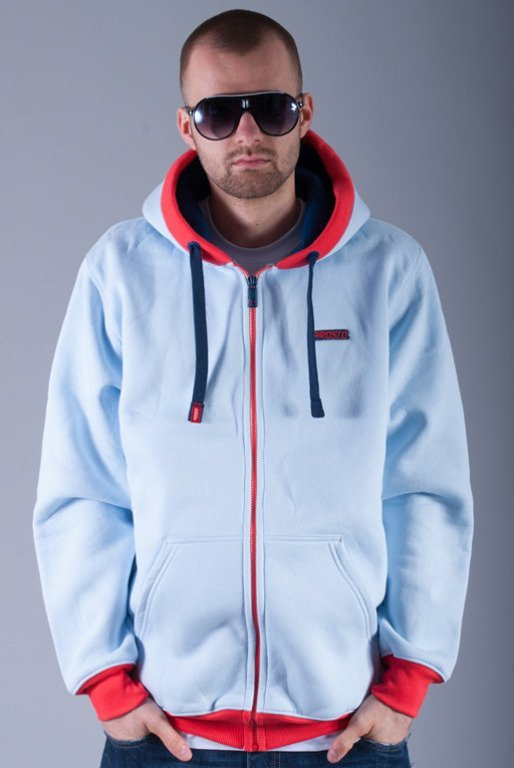 PROSTO BLUZA Z KAPTUREM ZIP REMOVED LIGHT BLUE