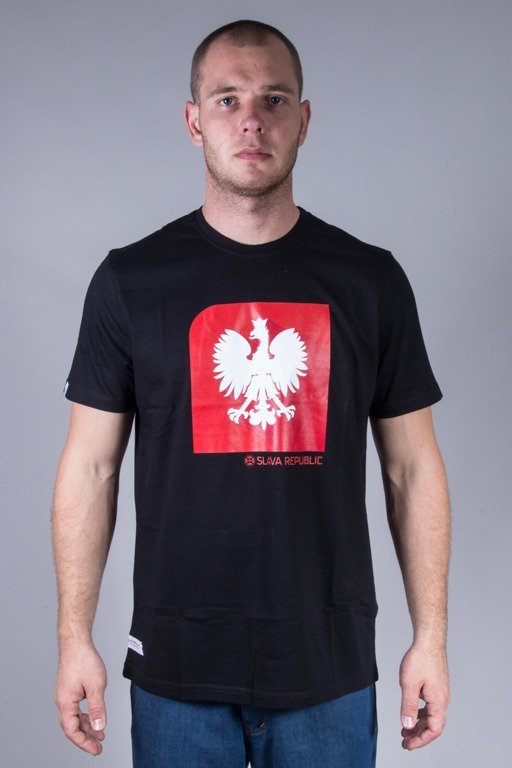 SLAVA REPUBLIC T-SHIRT FLAGA GODŁO BLACK