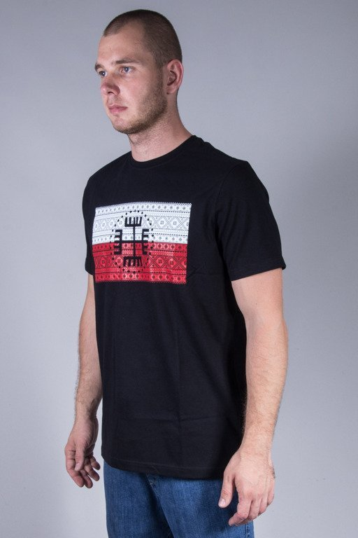SLAVA REPUBLIC T-SHIRT FLAGA RĘKA BOGA BLACK