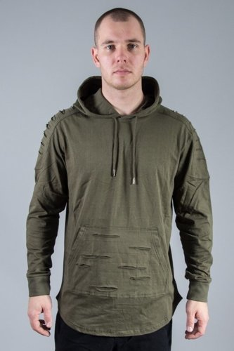 SOUTHPOLE HOODIE RIPPED GROUP OLIVE