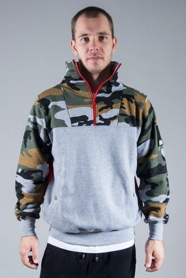 STOPROCENT HOODIE ZIP LOGIC GREY-RED