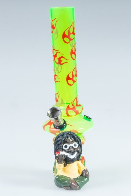 BONGO AKRYLOWE RASTA GLASS FIRE BONG GREEN-RED