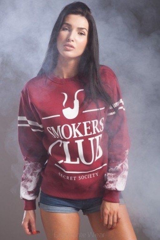 DIAMANTE CHICKS BLUZA BEZ KAPTURA SMOKERS CLUB BRICK