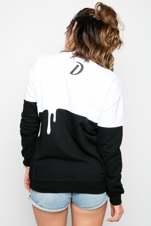 DIAMANTE CHICKS CREWNECK DOUBLE JOINT BLACK-WHITE