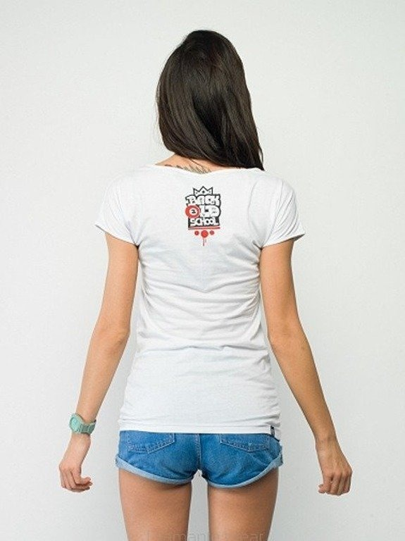DIAMANTE CHICKS KOSZULKA BACK 2 OLDSHOOL WHITE