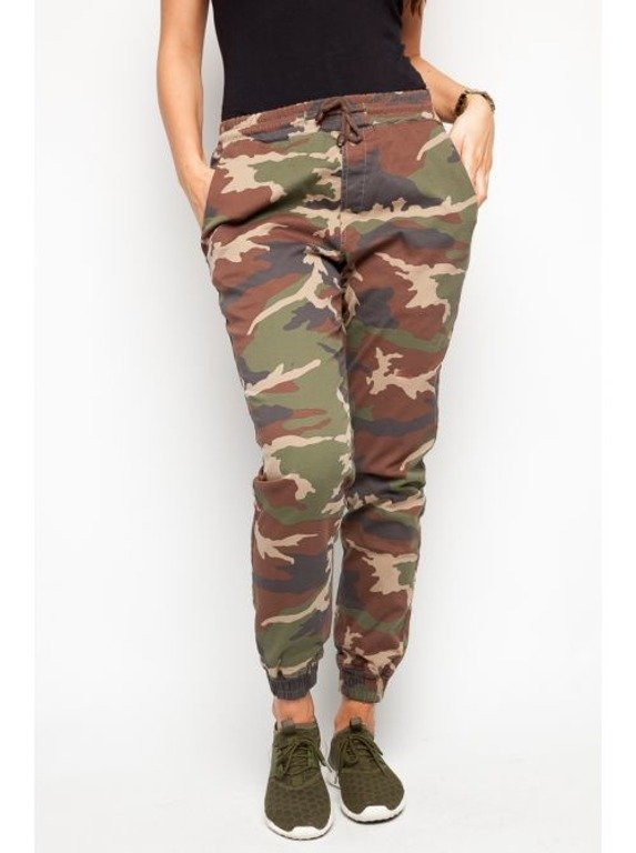 DIAMANTE CHICKS SPODNIE CHINO JOGGER NEW CAMO