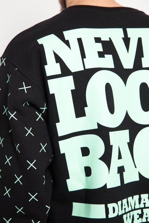 DIAMANTE WEAR BLUZA BEZ KAPTURA NEVER LOOK BACK BLACK-MINT