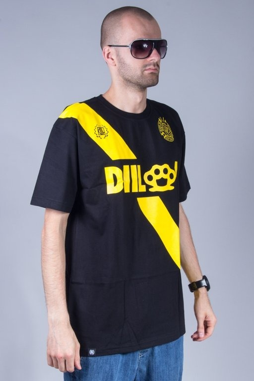 DIIL T-SHIRT STRIP BLACK-YELLOW