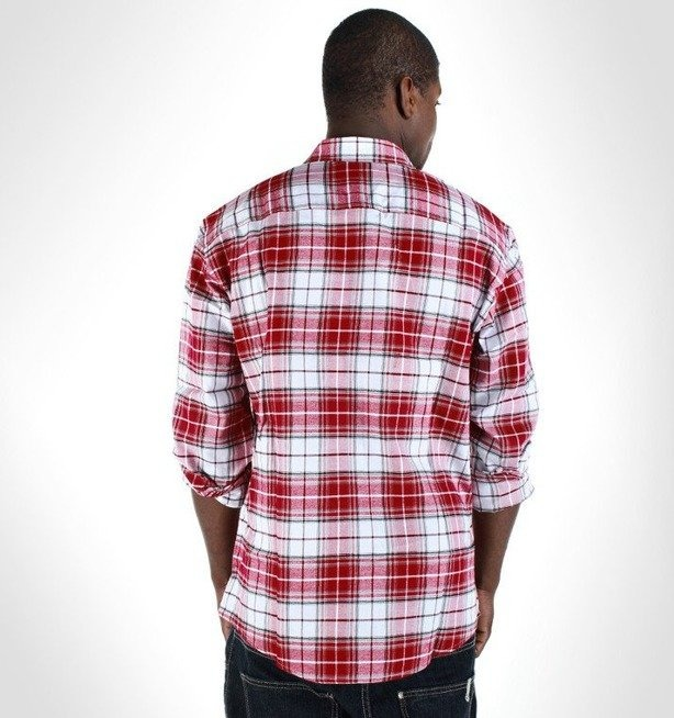 ECKO KOSZULKA LOGGED IN LS WOVEN RED-WHITE
