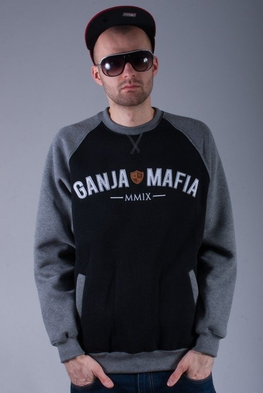 GANJA MAFIA BLUZA BEZ KAPTURA CAMPUS BLACK-GREY