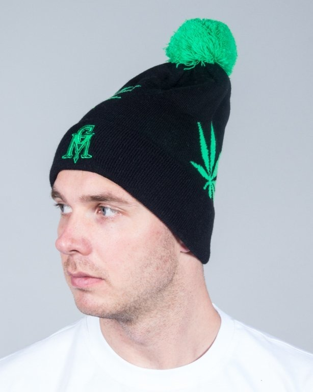 GANJA MAFIA WINTER CAP LEAVES BLACK-GREEN