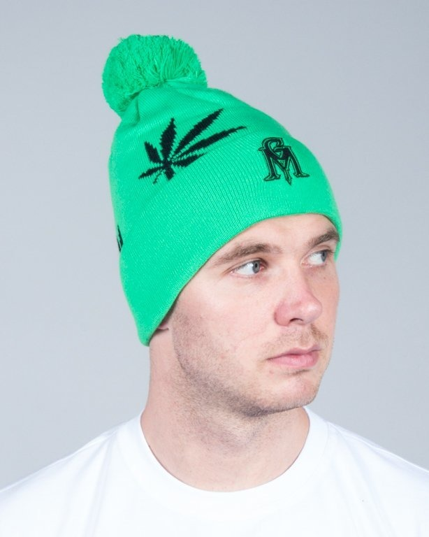 GANJA MAFIA WINTER CAP LEAVES GREEN-BLACK