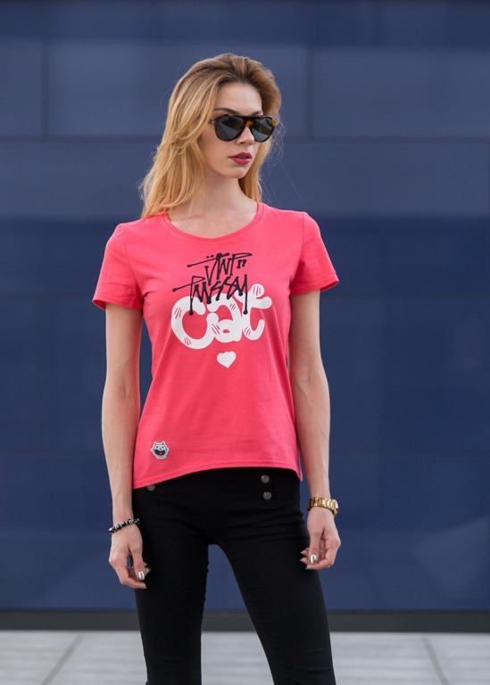 JWP T-SHIRT GIRL PUSSY CAT PINK