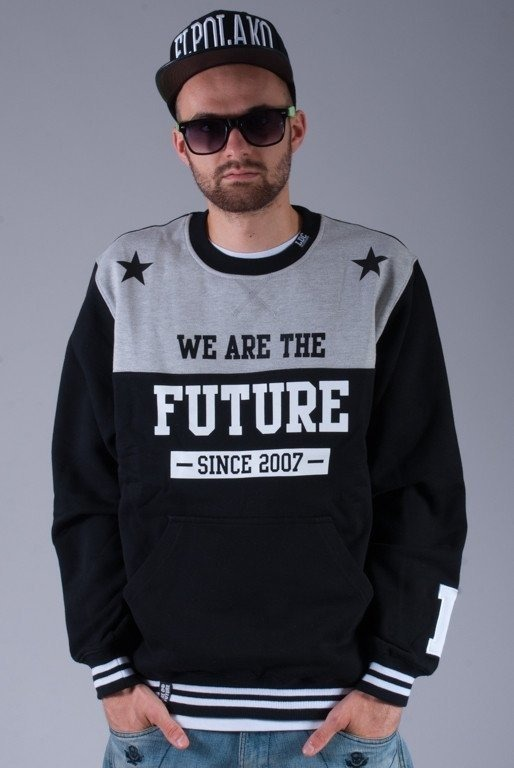 LUCKY DICE BLUZA BEZ KAPTURA NEW FUTURE MELANGE-BLACK