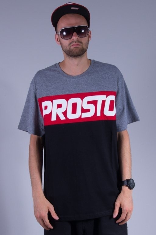 PROSTO KOSZULKA BASIC LEVEL GREY-BLACK