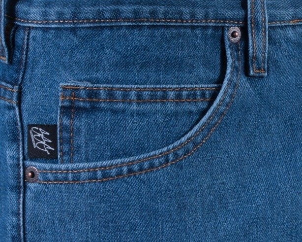 SSG SPODNIE JEANS REGULAR CALIGRAPHY BLUE-YELLOW