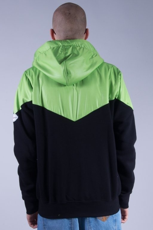 STOPROCENT BLUZA Z KAPTUREM ZIP RUNNER BLACK-GREEN