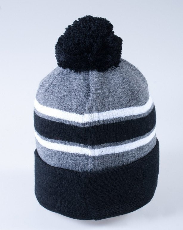 STOPROCENT CZAPKA ZIMOWA LTD POMPON STOPRO! GREY-BLACK-WHITE