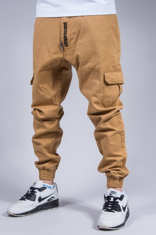 STOPROCENT PANTS CHINO JOGGER ARMY CAMEL