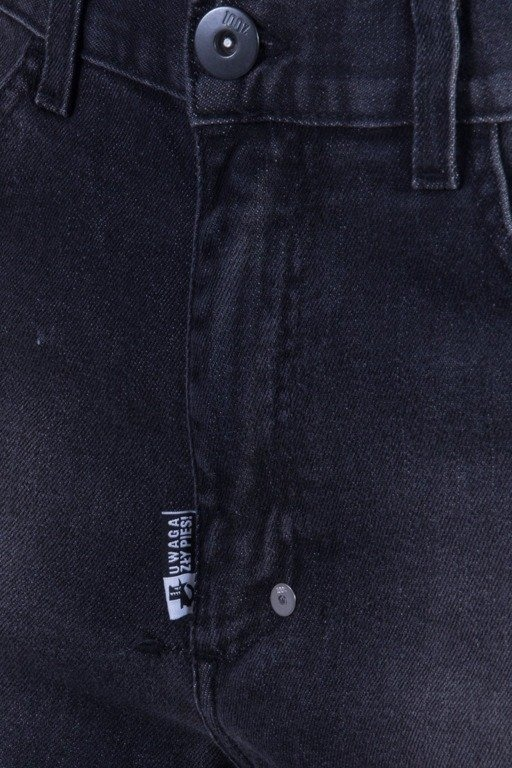 STOPROCENT SPODNIE JEANS SLIM BACK TAG BLACK