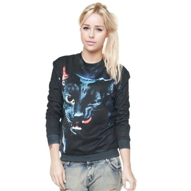 ZOHRA BLUZA DAMSKA FULLPRINT BLACK CAT