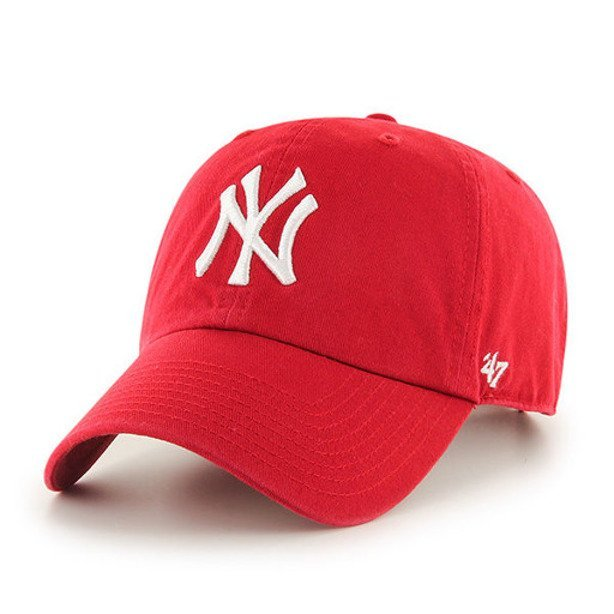 47 BRAND CAP MLB NEW YORK YANKEES CLEAN UP RED
