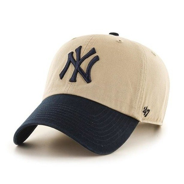 47 BRAND CAP NEW YORK YANKEES CLEAN UP BEIGE-NAVY